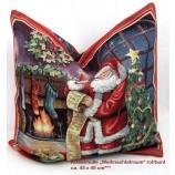 Kissenhülle Gobelin - Weihnachten- Weihnachtstraum rot/bunt, ca.45 x 45 cm