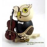 Eule mit Cello, Rauchfigur ca. 15 cm