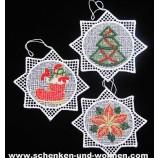 Plauener Spitze - Weihnachtshänger 3er-Set - sternförmig