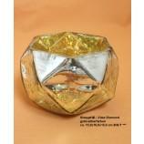 Glasgefäß - Vase Diamond gold-silberfarben ca. 15,0x10,0x15,0 cm B/H/T