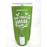 Filz - Flaschentasche mit Spruch, grün Höhe ca. 40 cm V2