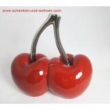 Keramik-Kirsche Double Cherry Facella platin-rot ca. 12 x 6 x 12 cm (T/B/H)