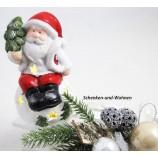 Keramik-Weihnachtsmann auf Kugel LED weiß/rot 8 x 8 x 14 cm