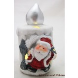 Keramik LED - Kerze mit Weihnachtsmann ca. 7 x 6,5 x 11 cm