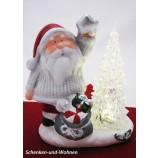Keramik-Weihnachtsmann mit LED-Acrylbaum ca. 13 x 8 x 14 cm