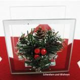 Spiegelglas Teelichthalter Viereck mit Ilexdekor ca. 10 x 7,5 x 10 cm