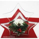 Spiegelglas Teelichthalter Stern mit Ilexdekor ca. 14 x 7,5 x 14 cm