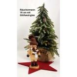 Räuchermann Glühwein 15 cm natur mit Strickmütze und -schal