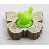 Holz -Teelichthalter Schmetterling natur-weiß, ca. 10 x 10 x 2 cm