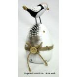 Vogel auf Holz-Ei weiss 16x8 cm (HxB)