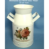 Milchkanne Dess. Rose 23 cm aus Metall im Vintage-Stil