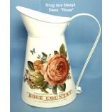 Krug  Dess. Rose 26 cm aus Metall im Vintage-Stil