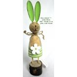 1 Osterhase stehend mit grünen Ohren Holz / Metall, 2-fach sortiert ca.22 cm
