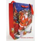 Papiertragetasche 3D Christmas Style, Santa mit Schlitten ca. 24 x 8 x 18 cm