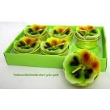 Teelichter Stiefmütterchen 6er Packung grün-gelb ca. 4 cm