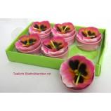 Teelichter Stiefmütterchen 6er Packung pink ca. 4 cm