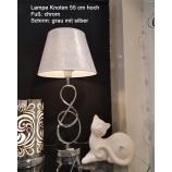 Edle Tischlampe Knoten 55 cm hoch chrom-grau-silber