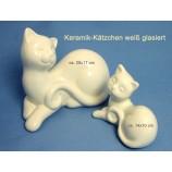 Deko Katze  modern weiß glasiert  ca. 20x17 cm