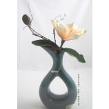 Keramik-Vase mit Loch - Janine-grün - glasiert, ca. 28 cm hoch