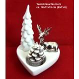 Teelichthalter Keramik Herz 13x13x15 cm (BxTxH)
