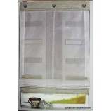 Zugrollo - Raffrollo Weiß Stickerei - Rechtecke in hellbraun  80 x 150 cm