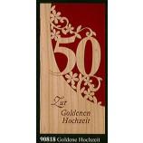 """Glückwunschkarte """"Goldene Hochzeit"""" Klappkarte Furnier 21 x 10 cm"""