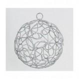 Drahtball, Drahtkugel - Blumenmuster, Silber ca. 8 cm Durchmesser