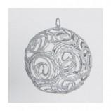 Drahtball, Drahtkugel -Spiralmuster, Silber ca. 8 cm Durchmesser