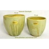 Übertopf  Keramik 11,5 x 13 cm (HxD) grün Echt Handarbeit
