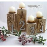 Advents-Kerzenhalter Holz 4er Set - Holzfarben mit grauen Zahlen