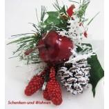 Künstlicher Pick rot /grün verschneit, Beeren/Apfel und Zapfen ca. 20 cm