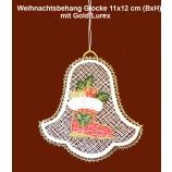 Plauener Spitze - Baumbehang Glocke mit Gold-Lurex 11x12 cm (BxH)