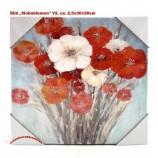 "Wandbild Gemälde ""Mohnblumen"" V2 Rot/Creme/Türkis ca. 2,5 x 30 x 30 x cm"