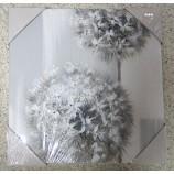 Wandbild Gemälde Silver Flower Pusteblume, grau silber, ca. 30x30 cm V3
