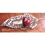 Moderne Deko - Blattschale Alu Design silber ca. 48 cm