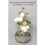 Edles Kunstblumen-Arrangement Magnolie ca. 43 cm hoch