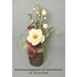 Blumenarrangement Vase mit Naturblumen ca. 55 cm hoch