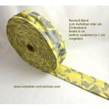 Borte zum Aufnähen 8 cm breit oder Einfassband 4 cm gelb-grau