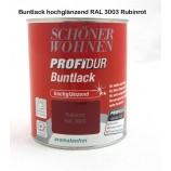 ProfiDur Buntlack - Kunstharzlack, hochglänzend RAL 3003 Rubinrot 750 ml
