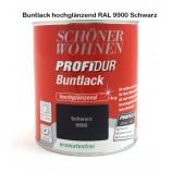 ProfiDur Buntlack - Kunstharzlack, hochglänzend RAL 9900 Schwarz 750 ml