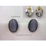 Ohrringe Clips Modeschmuck anthrazitblau-silber