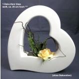1 Deko-Herz Vase, weiß, ca. 25 cm hoch