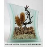1 Dekorierts Glasobjekt - Vase braun/natur ca. 19x17x5 cm