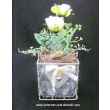 Drahtdeko mit Glasgefäß-Einsatz 11 cm eckig