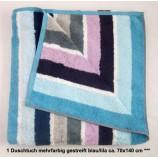 1 Duschtuch mehrfarbig blau/lila gestreift ca. 70x140 cm