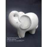 1 Keramik-Elefant Naturale weiß-grau glänzend ca. 11,0 x 6,0 x 11,0 cm (H/B/L)