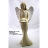 "Keramik Engel ""Luciela""  stehend,creme-weiss ca. 12,5 x 18,0 x 46,5 cm (T/B/H)"