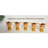 Engel-Figuren 5 cm Gruppe mit 5 Stück gold matt