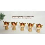 Engel-Figuren 5 cm Gruppe mit 5 Stück natur lasiert