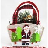 Geschenktasche, Motiv Weihnachtsmann - klein -Filz ca. 18 x 16 cm (H/B)